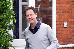 © Licensed to London News Pictures. 26/04/2015. Sutton, UK Deputy Prime Minister and Leader of the Liberal Democrats Nick Clegg makes a speech today, 26th April 215 in Sutton, to local Liberal Democrats in support of the candidate for Sutton and Cheam, Paul Burstow. Nick Clegg and Paul Burstow also joined local campaigners to deliver leaflets on a nearby street, and put up a Liberal Democrat stakeboard.. Photo credit : Stephen Simpson/LNP