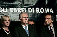 Roma, 16 Ottobre  2012.Commemorazione per le deportazioni degli ebrei dal ghetto di Roma del 16 ottobre 1943..Il Presidente del Consiglio Mario Monti e il ministro Fabrizio Barca..Sixty-nine years later, Rome remembers October 16, 1943, when over a thousand Roman Jews, and among them 350 children, were driven from their homes. An official ceremony and candlelight vigil is organized by the Community of Sant'Egidio  and the Jewish Community in memory of the sacrifice Roman Jews rounded up by the Nazis in Rome.