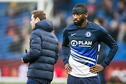 Antonio Rudiger (Chelsea) leaving the pitch after a warm-up ahead of the Premier League match between Brighton and Hove Albion and Chelsea at the American Express Community Stadium, Brighton and Hove, England on 1 January 2020.