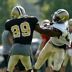 July 31, 2010; Metairie, LA, USA; New Orleans Saints wide receiver Adrian Arrington (87) is grabbed by cornerback Danny Gorrer (29) during a training camp practice at the New Orleans Saints practice facility. Mandatory Credit: Derick E. Hingle