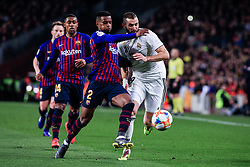 February 6, 2019 - Barcelona, BARCELONA, Spain - 09 Karim Benzema of Real Madrid defended by 02 Nelson Semedo of FC Barcelona during the semi-final first leg of Spanish King Cup / Copa del Rey football match between FC Barcelona and Real Madrid on 04 of February of 2019 at Camp Nou stadium in Barcelona, Spain (Credit Image: © AFP7 via ZUMA Wire)