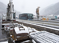 Construction equipment stands ready at a presentation of new boarder controls by Austrian police as Austria tightens its boarder with Italy at Gries am Brenner, Innsbruck-Land, Austria.<br /> Picture by EXPA Pictures/Focus Images Ltd 07814482222<br /> 27/04/2016<br /> ***UK &amp; IRELAND ONLY***