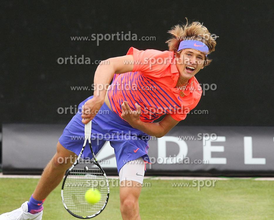 09.06.2015, Tennis Club Weissenhof, Stuttgart, GER, ATP Tour, Mercedes Cup Stuttgart, im Bild Alexander Zverev ( GER ) // during the Mercedes Cup of ATP world Tour at the Tennis Club Weissenhof in Stuttgart, Germany on 2015/06/09. EXPA Pictures &copy; 2015, PhotoCredit: EXPA/ Eibner-Pressefoto/ Langer<br /> <br /> *****ATTENTION - OUT of GER*****