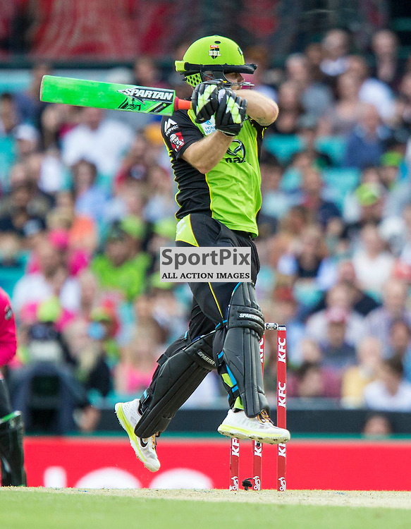 KFC Big Bash League T20 2015-16 , Sydney Sixers v Sydney Thunder, SCG; 16 January 2016<br /> Sydney Thunder Aiden Blizzard jumps in the air to crash another ball into the fence for 4.