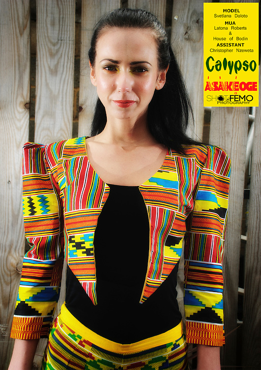 Calypso<br /> The intricately colorful expressions of the sunny islands interwoven into the brilliance of the motherland. Sweet and adventurous, a summery statement of confidence <br /> <br /> Model: Svetlana Doloto <br /> MUA: Latona Roberts &amp; House of Bodin <br /> Assistant: Christopher Nzeweta