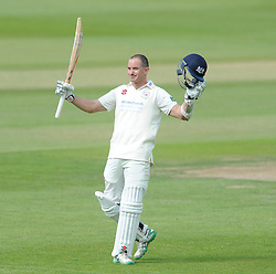 Michael Klinger of Gloucestershire celebrates scoring a century - Photo mandatory by-line: Dougie Allward/JMP - Mobile: 07966 386802 - 08/06/2015 - SPORT - Football - Bristol - County Ground - Gloucestershire Cricket v Lancashire Cricket Day 2 - LV= County Championship