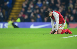 Alexis Sanchez of Arsenal looks frustrated. - Mandatory by-line: Alex James/JMP - 10/01/2018 - FOOTBALL - Stamford Bridge - London, England - Chelsea v Arsenal - Carabao Cup semi-final first leg