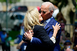 Joe and Jill Biden share a kiss on stage as former Vice President kicks off his 2020 campaign in the US Presidential Election, at an outdoor rally on the Benjamin Franklin Parkway in Philadelphia, PA on May 18, 2019.
