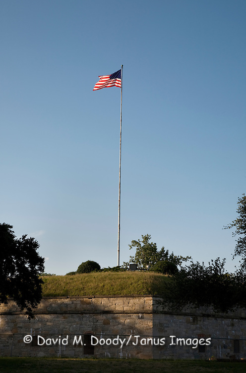 US Flag flying over the walls of historic Fort Monroe, Hampton, Virginia. Fort remain in Union hands throughout the American Civil War 1861-1865. It is the oldsest continuously active Army base in the country still active as of 2009.