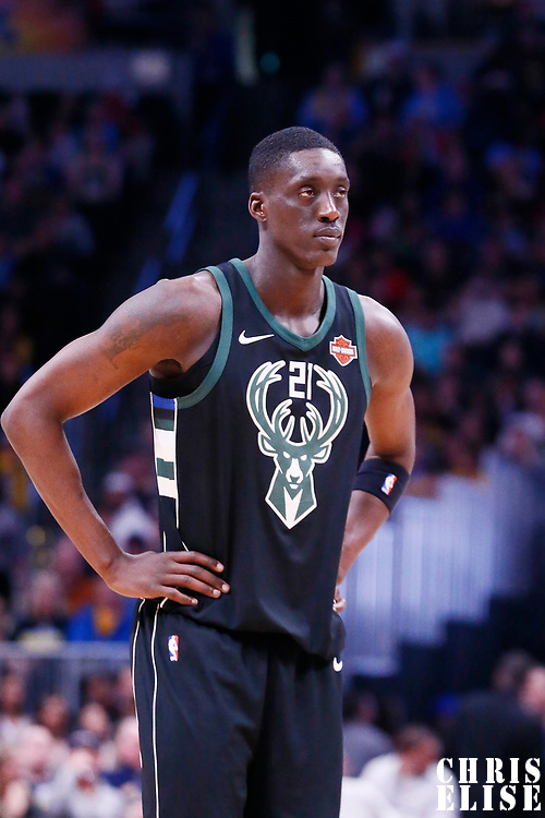 01 April 2018: Milwaukee Bucks guard Tony Snell (21) is seen during the Denver Nuggets 128-125 victory over the Milwaukee Bucks, at the Pepsi Center, Denver, Colorado, USA.