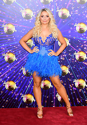 Saffron Barker arriving at the red carpet launch of Strictly Come Dancing 2019, held at BBC TV Centre in London, UK.