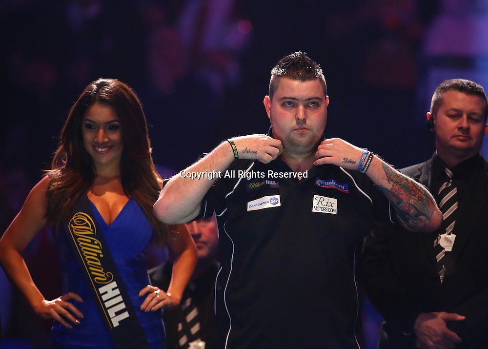 23.12.2016. Alexandra Palace, London, England. William Hill PDC World Darts Championship. Michael Smith prepares to make the walk to the Oche, for his match with Mervyn King