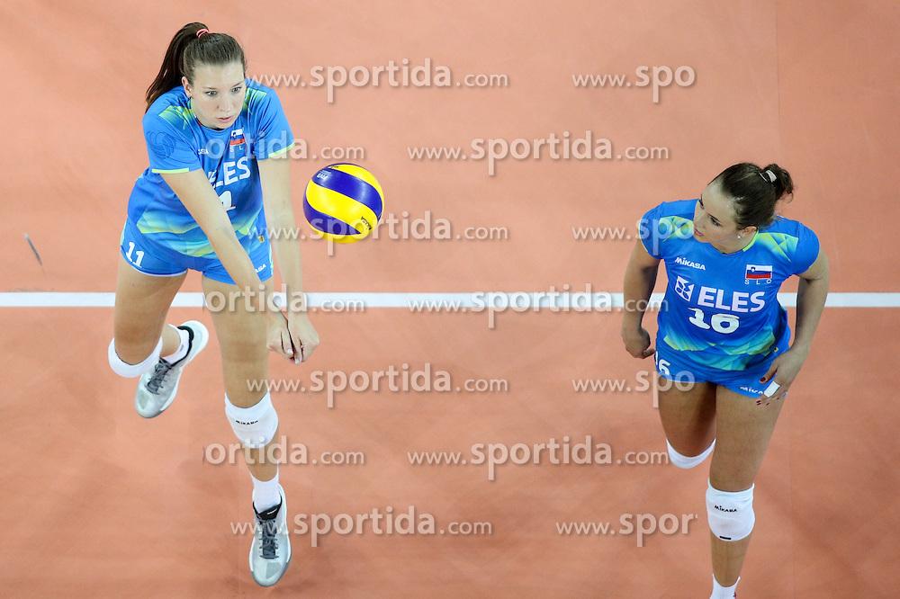 Ziva Recek of Slovenia and Monika Potokar of Slovenia during volleyball match between Slovenia and Slovakia in CEV European League Women on June 22, 2016 in Stozice, Ljubljana, Slovenia. Photo by Morgan Kristan / Sportida