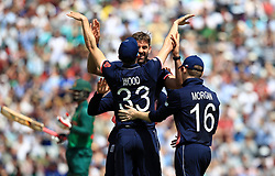 England's Liam Plunkett celebrates the wicket of Bangladesh's Imrul Kaye, caught by England's Mark Wood during the ICC Champions Trophy, Group A match at The Oval, London.