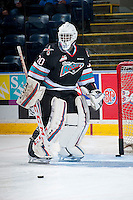 KELOWNA, CANADA - OCTOBER 9: Michael Herringer #30 of Kelowna Rockets warms up against the Victoria Royals on OCTOBER 9, 2015 at Prospera Place in Kelowna, British Columbia, Canada.  (Photo by Marissa Baecker/Getty Images)  *** Local Caption *** Michael Herringer;