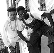 Outlaw Posse wearing dungarees beads and peace symbols, East Central London, UK, 1989