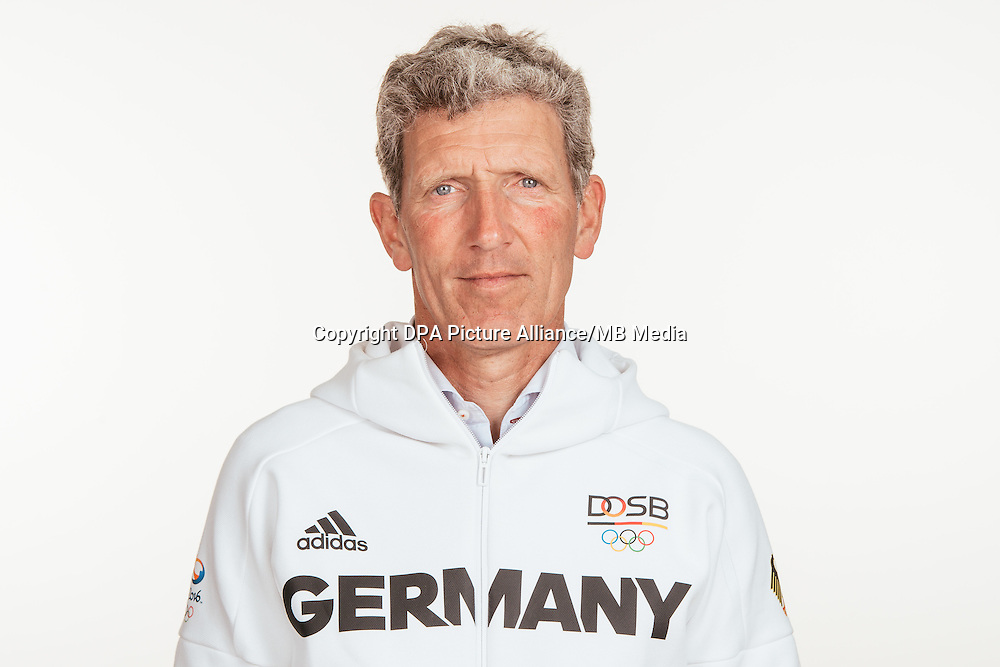 Ludger Beerbaum poses at a photocall during the preparations for the Olympic Games in Rio at the Emmich Cambrai Barracks in Hanover, Germany, taken on 18/07/16 | usage worldwide