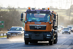 © Licensed to London News Pictures. 02/01/2017. Nottingham UK. Gritters out working on the A1 northbound near Nottingham today as the country prepares for more cold weather. Photo credit: Andrew McCaren/LNP