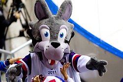 Official mascot Goooly during ice-hockey match between Russia and Slovenia of Group A of IIHF 2011 World Championship Slovakia, on May 1, 2011 in Orange Arena, Bratislava, Slovakia. Russia defeated Slovenia 6-4. (Photo By Vid Ponikvar / Sportida.com)