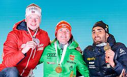 11.02.2017, Biathlonarena, Hochfilzen, AUT, IBU Weltmeisterschaften Biathlon, Hochfilzen 2017, Sprint Herren, Siegerehrung, im Bild Johannes Thingnes Boe (NOR, Silbermedaillen Gewinner), Sieger und Weltmeister Benedikt Doll (GER, Goldmedaillen Gewinner), Martin Fourcade (FRA, Bronzemedaillen Gewinner) // silver Medalist Johannes Thingnes Boe of Norway World Champion and Goldmedalist Benedikt Doll of Germany bronze Medalist Martin Fourcade of France during Winner Ceremony of the Mens Sprint of the IBU Biathlon World Championships at the Biathlonarena in Hochfilzen, Austria on 2017/02/11. EXPA Pictures © 2017, PhotoCredit: EXPA/ JFK