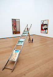 Paintings and sculpture by Robert Rauschenberg at Hamburger Bahnhof Museum of Contemporary Art in Berlin Germany