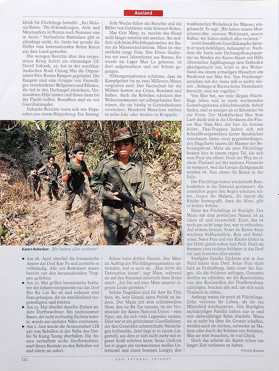 Der Spiegel - The Thai-Burma border featuring the ongoing conflict and refugees.