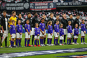 Eintracht Frankfurt players line up just before kick-off of the Europa League semi final second leg match between Chelsea and Eintracht Frankfurt at Stamford Bridge, London, England on 9 May 2019.