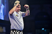 Peter Wright celebrates his win during the William Hill World Darts Championship at Alexandra Palace, London, United Kingdom on 29 December 2016. Photo by Mark Davies.