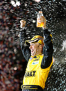 Matt Kenseth celebrates in victory lane after winning the Daytona 500. Feb. 15, 2009.