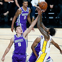 08 October 2017: Los Angeles Lakers forward Brandon Ingram (14) takes a jump shot over Sacramento Kings guard Bogdan Bogdanovic (8) during the LA Lakers 75-69 victory over the Sacramento Kings, at the T-Mobile Arena, Las Vegas, Nevada, USA.