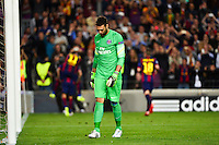 Deception Salvatore SIRIGU / Joie Barcelone - 21.04.2015 - Barcelone / Paris Saint Germain - 1/4Finale Retour Champions League<br />