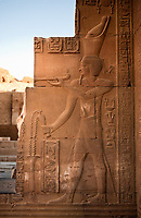 view of a frieze of the Kom Ombo temple along the river nile in upper egypt