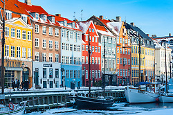 Winter view of Nyhavn Harbour in Copenhagen , Denmark