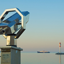Viewpoint binoculars at the Port of Cannes, France.