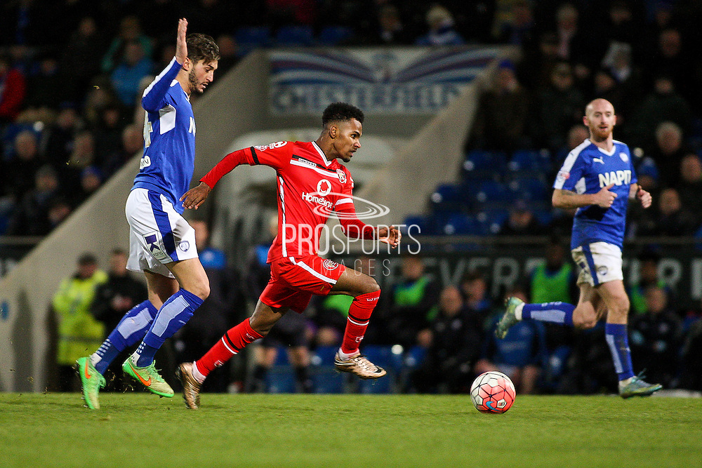 Walsall FC defender Rico Henry heads for goal during the The FA Cup match between Chesterfield and Walsall at the Proact stadium, Chesterfield, England on 5 December 2015. Photo by Aaron Lupton.
