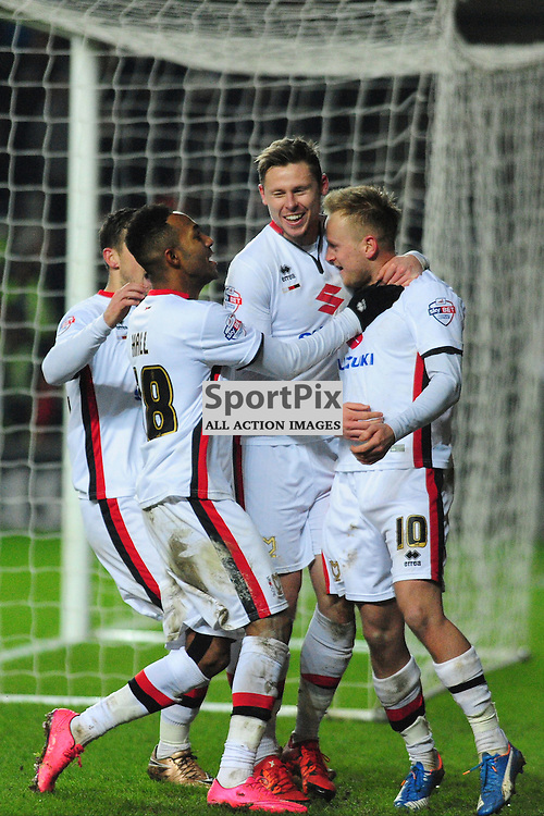MK DONS CELEBRATE THEIR FIRST GOAL FROM THE PENALTY SPOT, BY BEN REEVES, MK Dons v Northampton Town, FA Cup Emirates FA Cup Third round Repay, Stadium MK, Tuesday 19th January 2016