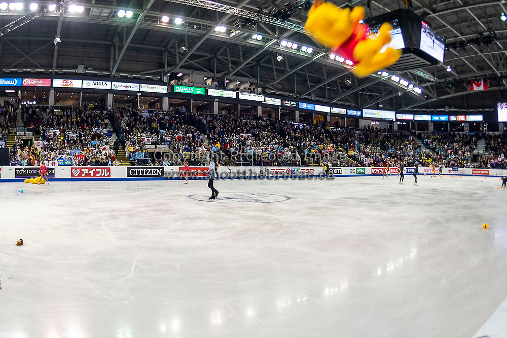 KELOWNA, BC - OCTOBER 25:  Japanese figure skater Yuzuru Hanyu stands on the ice as delighted fans throw gifts from the stands after his performance in the men's short program at Skate Canada International held at Prospera Place on October 25, 2019 in Kelowna, Canada. (Photo by Marissa Baecker/Shoot the Breeze)