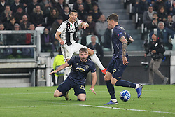 November 7, 2018 - Turin, Piedmont, Italy - Cristiano Ronaldo (Juventus FC) and Luke Shaw (Manchester Utd. FC) competes for the ball during the UEFA Champions League match between Juventus FC and Manchester United FC,  at Allianz Stadium on November 07, 2018 in Turin, Italy..Juventus FC lost 1-2 against Manchester United. (Credit Image: © Massimiliano Ferraro/NurPhoto via ZUMA Press)