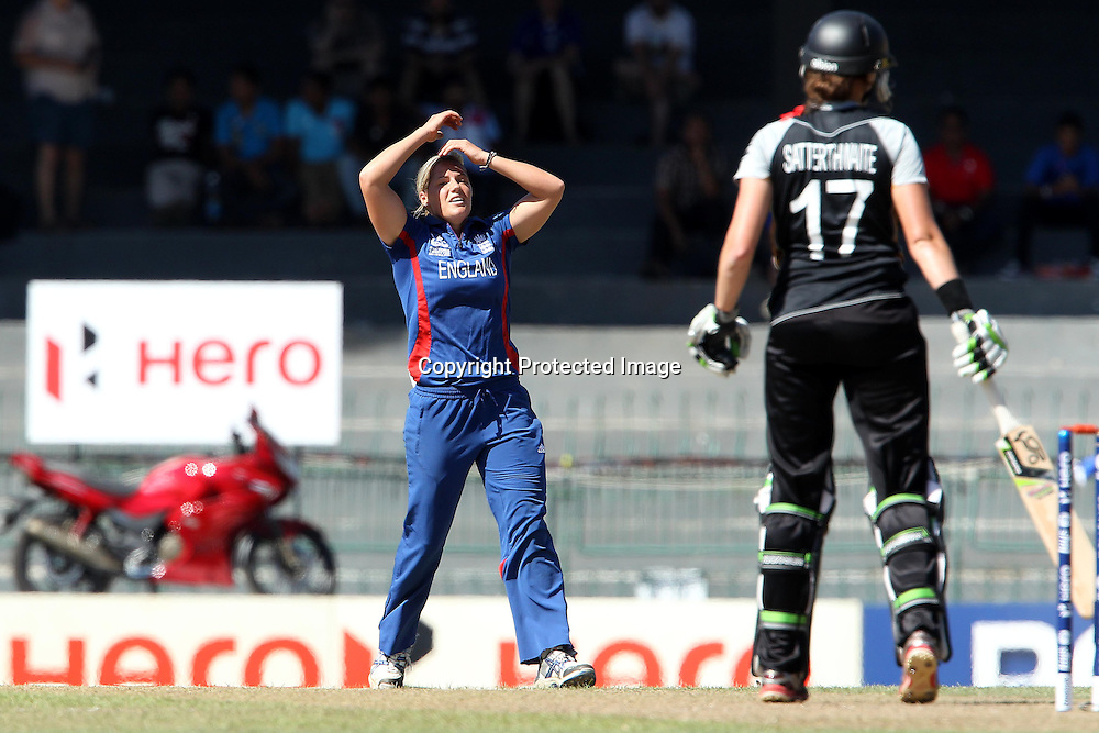 Katherine Brunt reacts after bowling to Amy Satterthwaite during the ICC Women's World Twenty20 Semi final match between England and New Zealand held at the Premadasa Stadium in Colombo, Sri Lanka on the 4th October  2012<br /> <br /> Photo by Ron Gaunt/SPORTZPICS/PHOTOSPORT