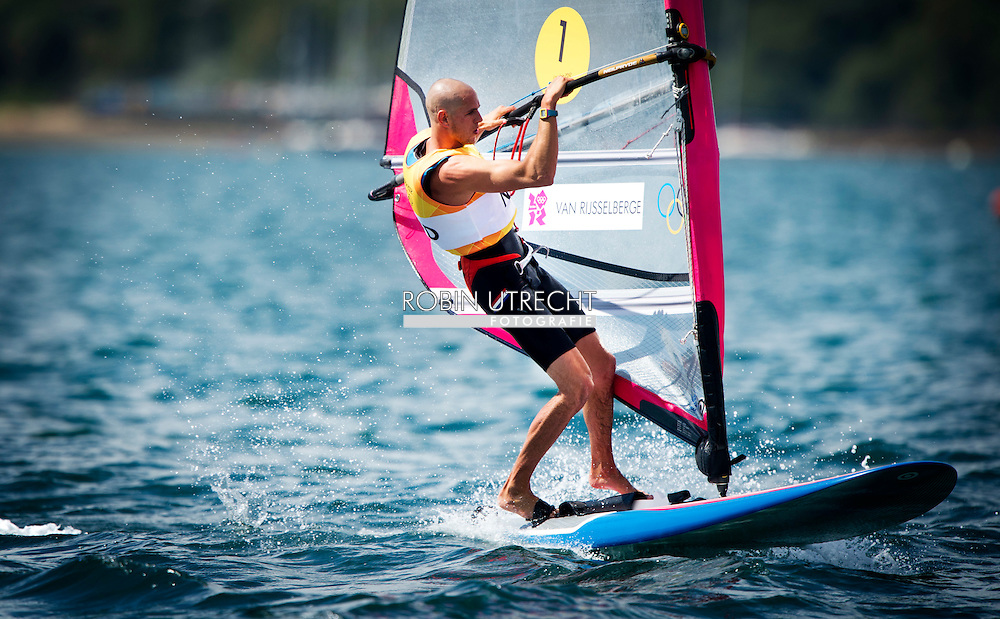 WEYMOUTH - Dorian van Rijsselberghe na zijn race. De windsurfer kan het goud bij de Olympische Spelen niet meer mislopen.