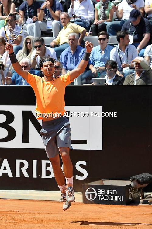 Foto Alfredo Falcone - LaPresse<br /> 21/05/2012 Roma ( Italia)<br /> Sport Tennis<br /> Novak Djocovic (SRB) - Rafael Nadal (ESP)<br /> Internazionali BNL d'Italia 2012<br /> Nella foto:Rafael Nadal<br /> Novak Djocovic (SRB) - Rafael Nadal (ESP)<br /> Photo Alfredo Falcone - LaPresse<br /> 21/05/2012 Roma (Italy)<br /> Sport Tennis<br /> Internazionali BNL d'Italia 2012<br /> In the pic:Rafael Nadal
