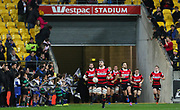 Luke Whitelock leads out the Canterbury team during the Mitre 10 Cup rugby match between the Wellington Lions & Canterbury at Westpac Stadium, Wellington. Friday 23rd August 2019. Copyright Photo: Grant Down / www.Photosport.nz