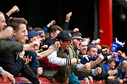 Blackburn Rovers fans celebrates a goal (score 0-1)   during the EFL Sky Bet Championship match between Brentford and Blackburn Rovers at Griffin Park, London, England on 7 May 2017. Photo by Andy Walter.