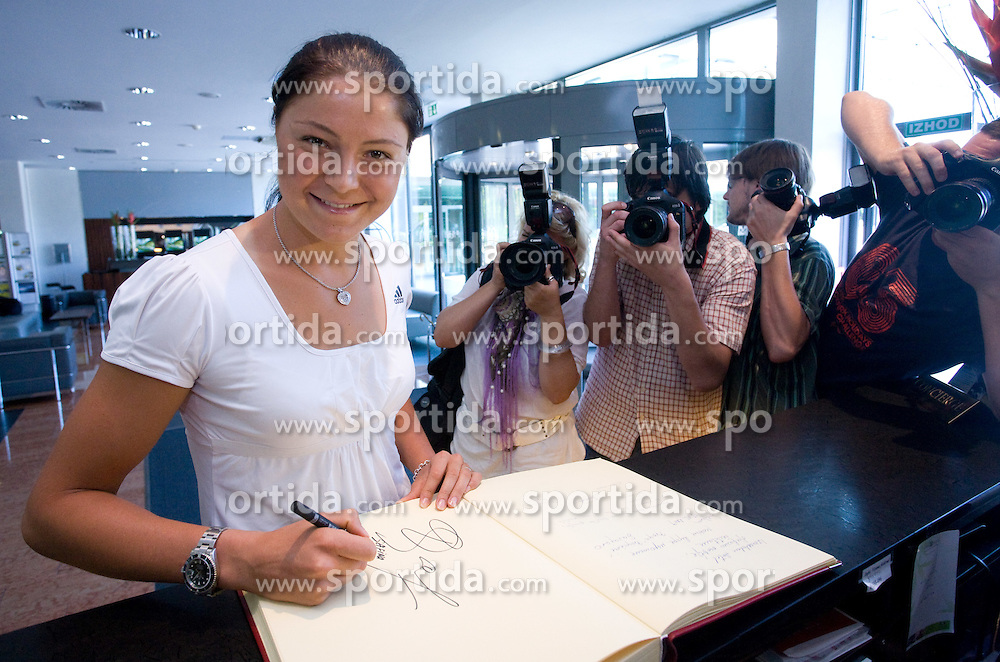 Number one world women player Dinara Safina of Russia signing a hotel welcome book at press conference before Banka Koper Slovenia Open 2009 of Sony Ericsson WTA tour in Portoroz,  on July 16, 2009, in Hotel Mons, Ljubljana, Slovenia. (Photo by Vid Ponikvar / Sportida)