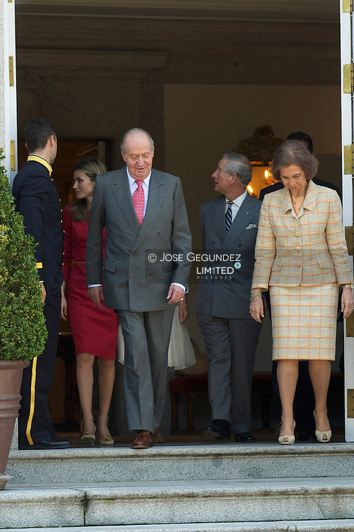 Princess Letizia of Spain, King Juan Carlos of Spain, Camilla, Duchess of Cornwall, Prince Charles, Prince of Wales, Queen Sofia of Spain and Prince Felipe of Spain are received at Zarzuela Palace on day two of a three day visit to Spain on March 31, 2011 in Madrid, Spain. Camilla, Duchess of Cornwall, and Prince Charles, Prince of Wales, are on a three day trip to Spain as part of a tour to Portugal, Spain and Morroco.