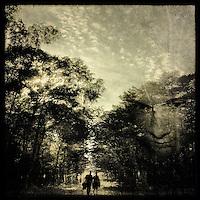A man and a woman walking along a path through woodland