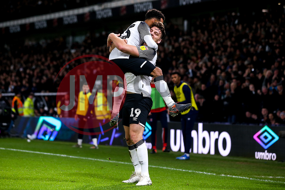 Chris Martin of Derby County celebrates with teammates after scoring a goal to make it 2-0 - Mandatory by-line: Robbie Stephenson/JMP - 31/01/2020 - FOOTBALL - Pride Park Stadium - Derby, England - Derby County v Stoke City - Sky Bet Championship