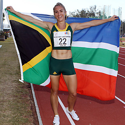 Durban, SOUTH AFRICA, 26,June, 2016 - Winner Wenda Nel of South Africa in the Women 400m Hurdles Final during Day 5 The 20th CAA African Senior Athletics Championships will take place at the Kings Park Athletics Stadium in Durban, South Africa from June 22-26, 2016. (Photo by Steve Haag)