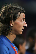 Barcelona's Zlatan Ibrahimovic leaves the pitch after he makes his debut at the Nou Camp during their 44th Trophy Joan Gamper friendly football match against Manchester City at Camp Nou stadium in Barcelona on August 19, 2009.