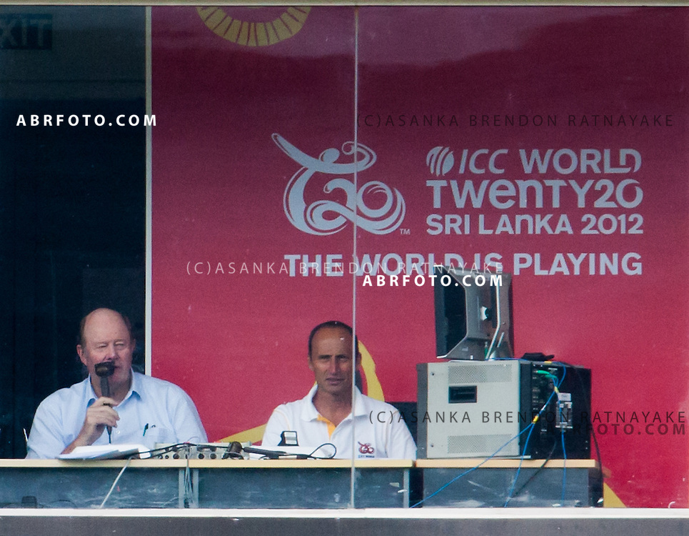 Tony Greig and Nasser Hussein in the Commentary box. This would be Tony Greig's last major event as a commentator before his sad passing during the ICC world Twenty20 Cricket held in Sri Lanka.